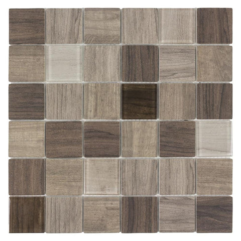 MTO0384 Classic 2X2 Squares Brown Beige Wood Grain Glass Mosaic Tile