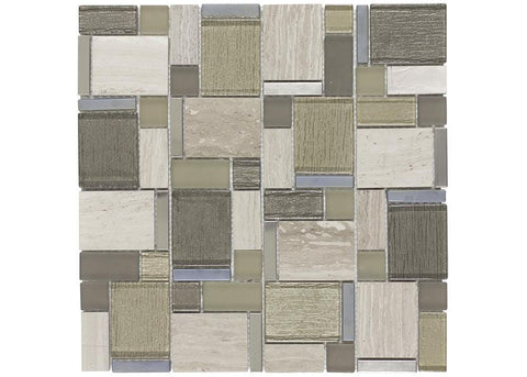 MTO0385 Modular Khaki Brown Gold Glossy Metallic Matte Glass Stone Mosaic Tile - Mosaic Tile Outlet