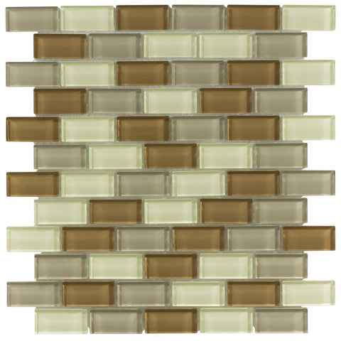 MTO0388 Modern 1X2 Brick Linear Brown Khaki White Glossy Glass Mosaic Tile - Mosaic Tile Outlet