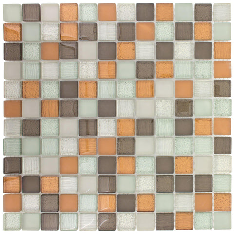 MTO0391 Stacked 1X1 Squares White Brown Orange Glossy Matte Glass Mosaic Tile