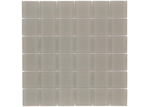 MTO0394 Classic 2X2 Squares Champagne Beige Frosted Glass Mosaic Tile