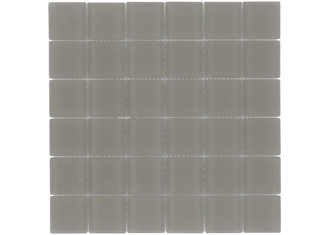 MTO0395 Classic 2X2 Squares Brown Frosted Glass Mosaic Tile