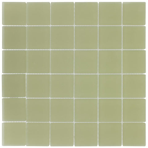 MTO0396 Classic 2X2 Squares Yellow Frosted Glass Mosaic Tile