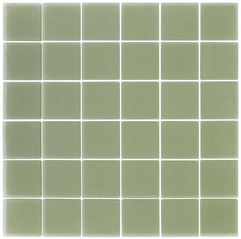 MTO0397 Classic Squares Green Frosted Glass Mosaic Tile