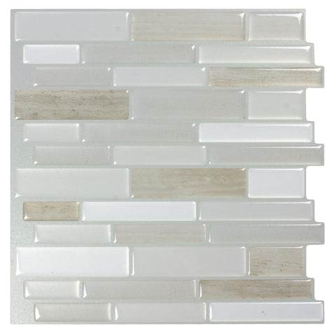 MTO0403 Peel and Stick Linear White Grey Khaki Glossy Resin Vinyl Mosaic Tile - Mosaic Tile Outlet