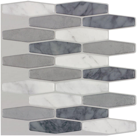 MTO0404 Peel and Stick Modern Hexagon Grey White Glossy Resin Vinyl Mosaic Tile - Mosaic Tile Outlet