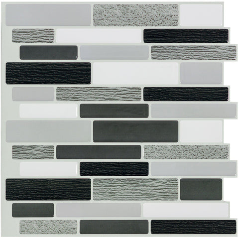 MTO0405 4PK Peel and Stick Linear White Grey Black Glossy Vinyl Mosaic Tile