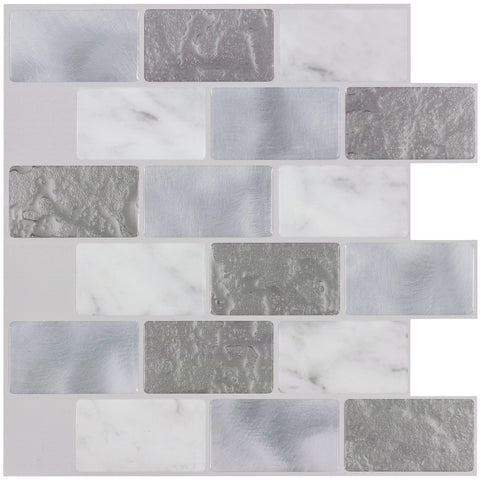 MTO0408 4PK Peel and Stick Linear Brick Grey White Stone-like Vinyl Mosaic Tile