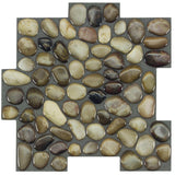 MTO0410 Peel and Stick Pebbles Brown Khaki Beige Glossy Resin Vinyl Mosaic Tile - Mosaic Tile Outlet