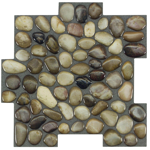 MTO0410 Peel and Stick Pebbles Brown Khaki Beige Glossy Resin Vinyl Mosaic Tile