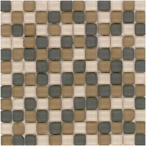 MTO0413 Modern 1X1 Stacked Squares Grey Brown Khaki Matte Glass Stone Mosaic Tile - Mosaic Tile Outlet