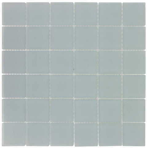 MTO0414 Modern 2X2 Squares Blue Frosted Glass Mosaic Tile - Mosaic Tile Outlet