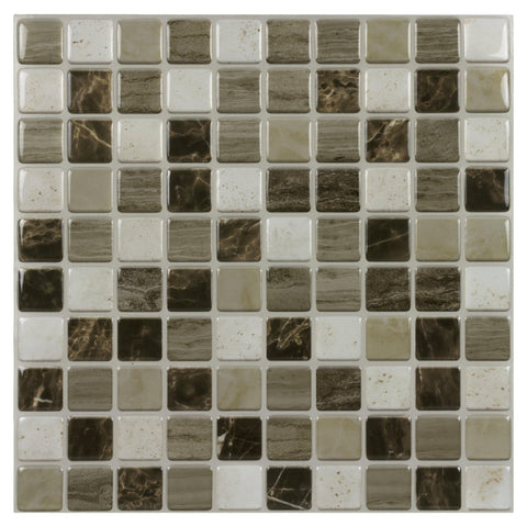 MTO0419 Front of Peel and Stick Square Mosaic Brown beige White Tile
