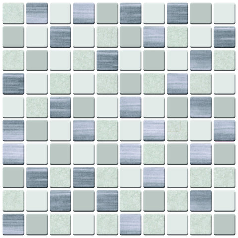 MTO0420 Peel and Stick 5Pak 1X1 Squares Beige Grey Glossy Stone-like Vinyl Mosaic Tile - Mosaic Tile Outlet