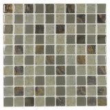 Front MTO0421 Peel and Stick Modern Squares Beige Brown Gray Glossy Mosaic Tile