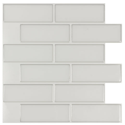 MTO0427 Peel and Stick 5Pak Modern Subway White Glossy Vinyl Mosaic Tile - Mosaic Tile Outlet