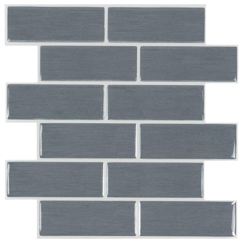 MTO0428 5Pak Peel and Stick Subway Gray Gun Metal Glossy Vinyl Mosaic Tile - Mosaic Tile Outlet