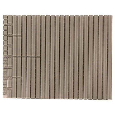 MTO0433 Peel and Stick Modern Multi-Sized Pencil Liner Molding Beige Glossy Glass Mosaic Tile - Mosaic Tile Outlet