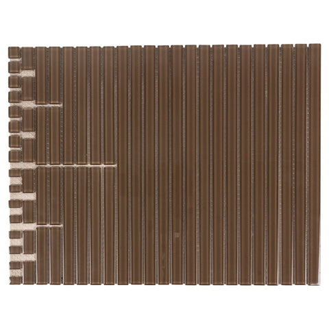 MTO0434 Peel and Stick Multi-Sized Pencil Liner Molding Brown Glossy Glass Mosaic Tile - Mosaic Tile Outlet