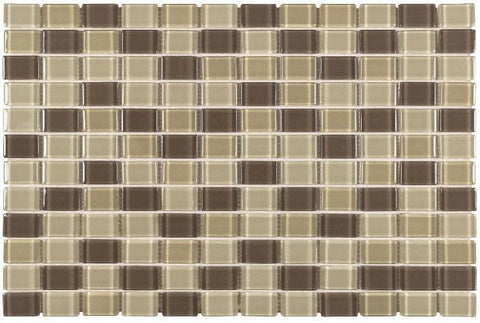 MTO0436 Peel and Stick 1X1 Square Brown Beige Khaki Glossy Glass Mosaic Tile