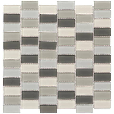 MTO0437 Peel and Stick Classic 1X2 Rectangles Grey Beige Glossy Glass Mosaic Tile - Mosaic Tile Outlet
