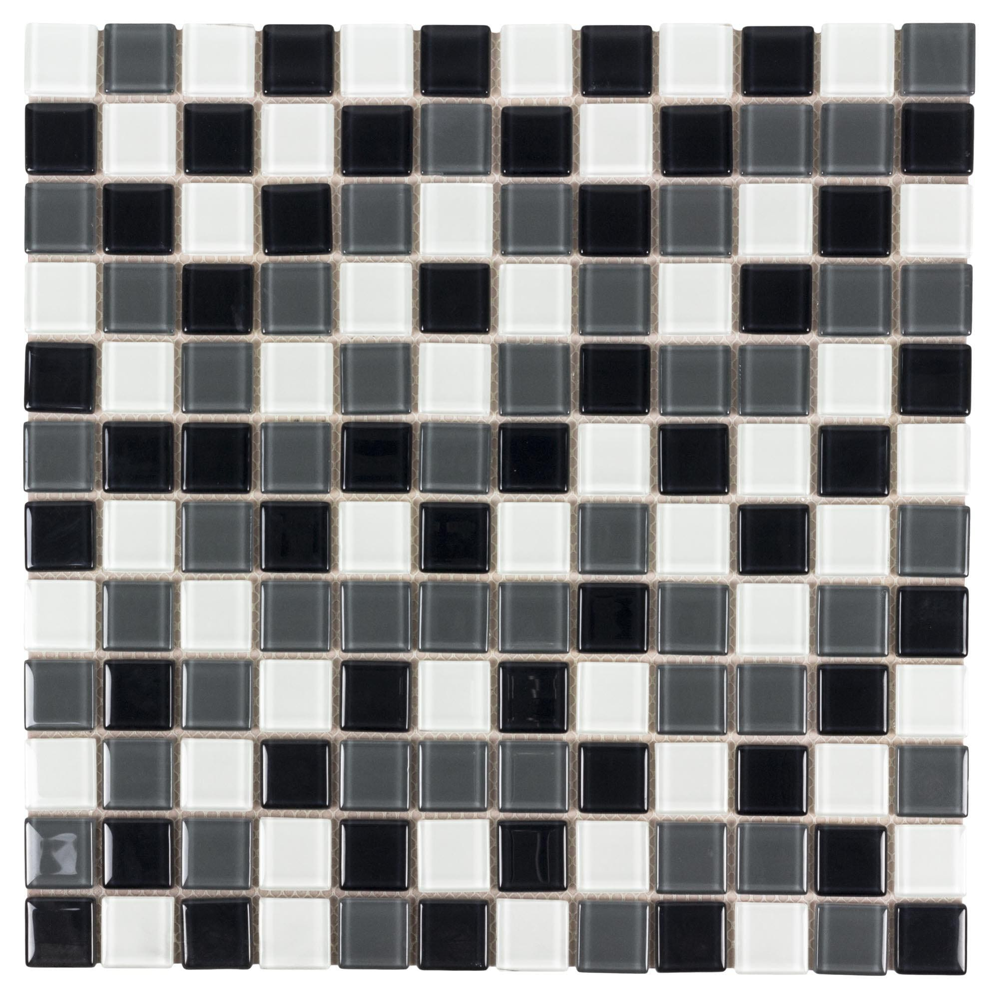 mto0439 peel and stick stacked squares black white grey glossy glass mosaic tile 691325418658 ebay. Black Bedroom Furniture Sets. Home Design Ideas