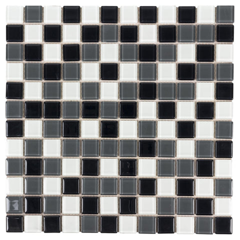 MTO0439 Peel and Stick Stacked Squares Black White Grey Glossy Glass Mosaic Tile