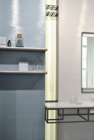 bathroom shot of MTO0446 Modern Large Format 10X30 Pattern White Glossy Porcelain Wall Tile