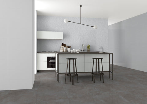 Kitchen of MTO0449 Modern Large Format 10X30 Gray Glossy Pattern Porcelain Wall Tile