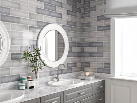 Bathroom Install MTO0452 Modern 4X12 Gray Subway Multi-Pattern Glossy Porcelain Tile