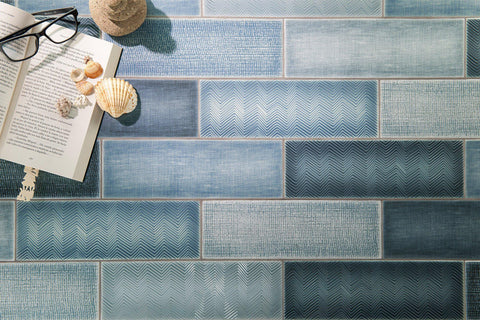 Wall Shot of MTO0453 Modern 4X12 Blue Subway Multi-Pattern Glossy Porcelain Tile