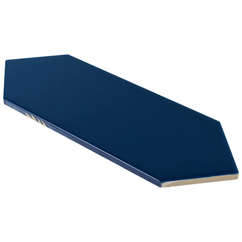 Angled View MTO0454 Modern 4X12 Large Diamond Dark Blue Subway Glossy Porcelain Tile