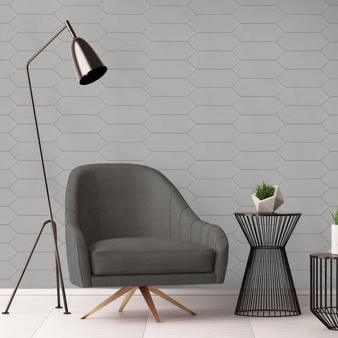 Living Room Install MTO0456 Modern 4X12 Large Diamond Gray Subway Glossy Porcelain Tile