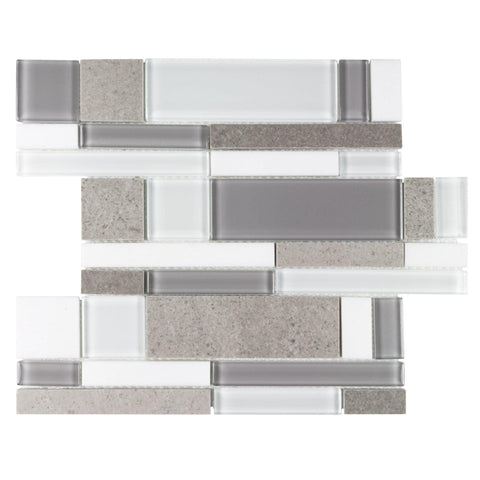 MTO0457 Modern Modular White Taupe Beige Glass Polished Stone Mosaic Tile - Mosaic Tile Outlet