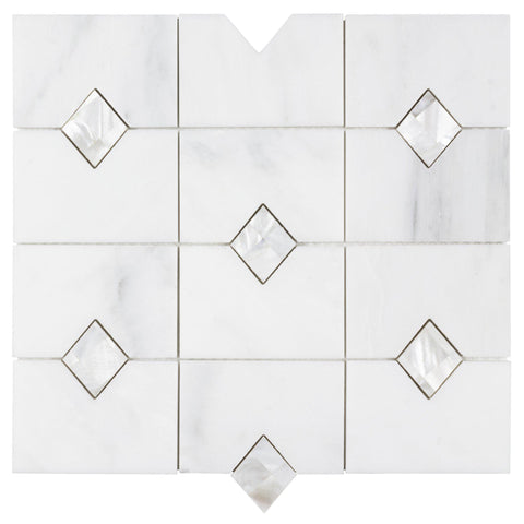 MTO0458 Rectangle White W/ Diamond Accent Polished Stone Mosaic Tile