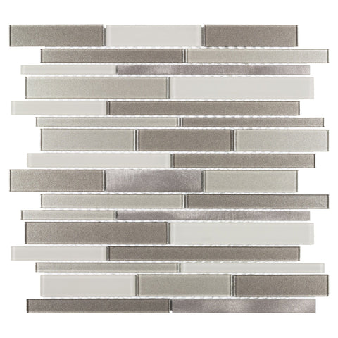 MTO0462 Classic White Beige Bronze Linear Glass Metal Mosaic Tile