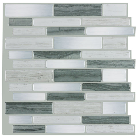 MTO0463 Modern Gray Linear Glossy Vinyl Mosaic Peel and Stick Tile