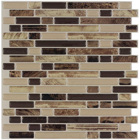 MTO0465 Peel and Stick Linear Brown Beige Khaki Glossy Vinyl Mosaic Tile - Mosaic Tile Outlet
