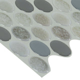 MTO0467 Modern Gray Pebbles Glossy Mosaic Peel and Stick Vinyl Tile