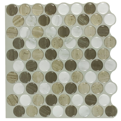 MTO0468 Modern 1X1 Penny Round Brown White Beige Mosaic Peel and Stick Vinyl Tile
