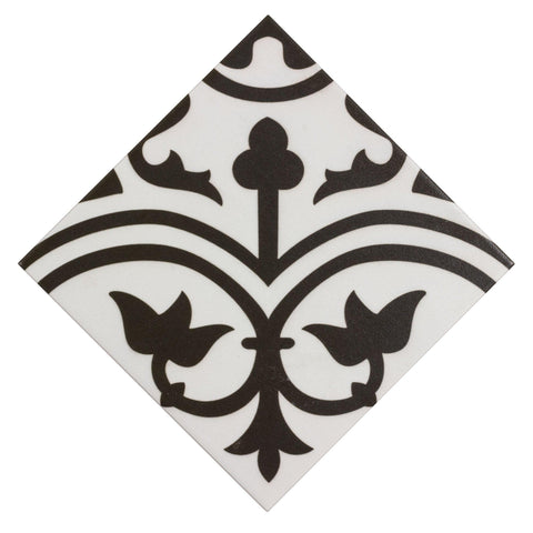 MTO0473 Classic 8x8 Deco Black White Arabesque Pattern Spanish Ceramic Mosaic Tile - Mosaic Tile Outlet
