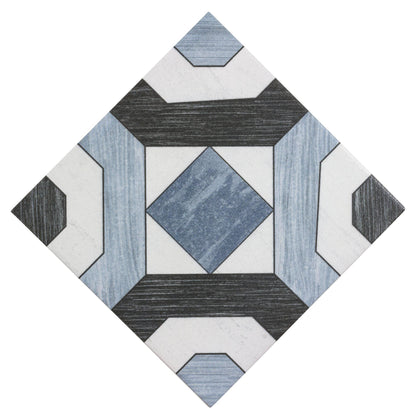 MTO0474 Classic 8x8 Deco Pattern Blue Black White Ceramic Mosaic Tile - Mosaic Tile Outlet