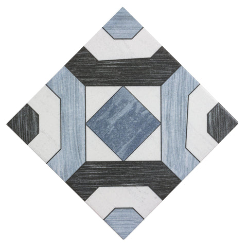 Front of MTO0474 Classic 8x8 Deco Pattern Blue Black White Ceramic Mosaic Tile