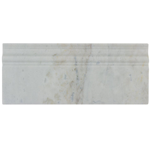 MTO0475 Modern 5X12 White Gray Skirting Baseboard Carrara Marble Tile - Mosaic Tile Outlet