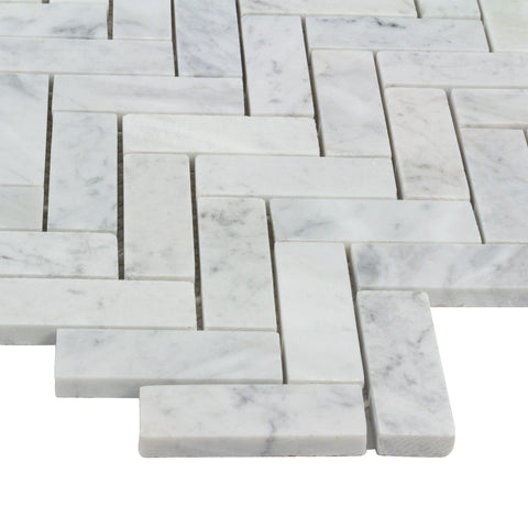 MTO0479 Modern 1X3 Herringbone White Gray Carrara Marble Mosaic Tile *Medium Veins - Mosaic Tile Outlet