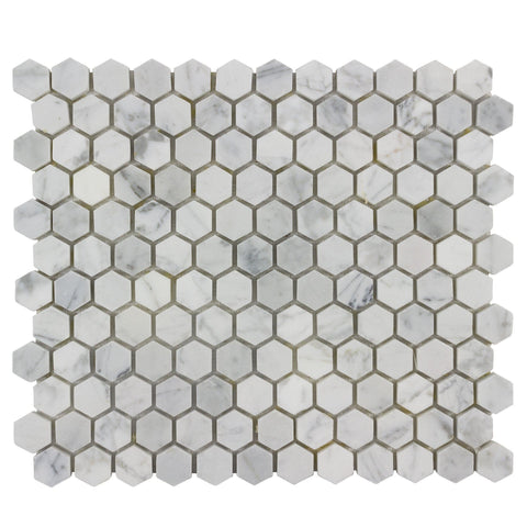 Front View MTO0480 Modern 1X1 Hexagon White Gray Carrara Marble Mosaic Tile
