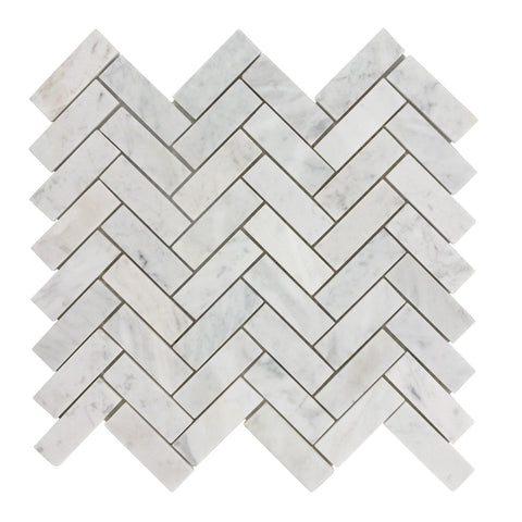 MTO0484 Modern 1X3 Herringbone White Gray Carrara Marble Mosaic Tile *Light Veins - Mosaic Tile Outlet