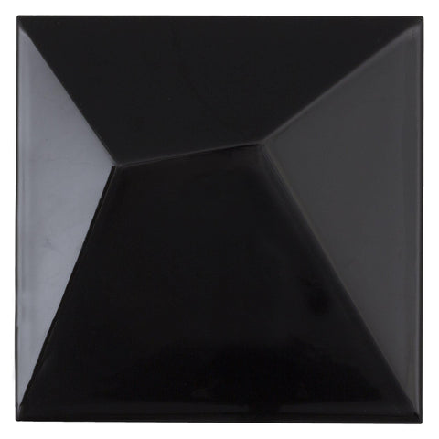 MTO0499 Modern 6X6 Black Beveled 3D Glossy Ceramic Tile - Mosaic Tile Outlet