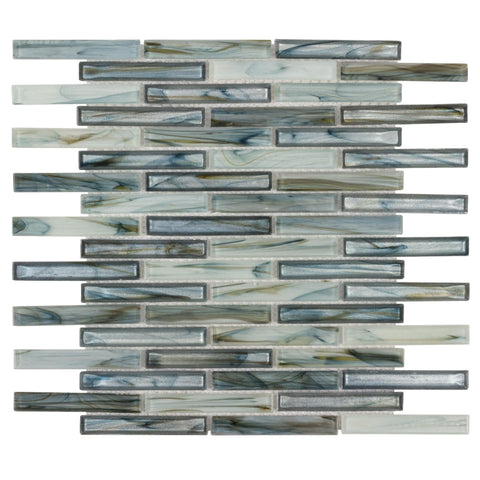MTO0503 Modern Linear Blue Metallic Glossy Glass Mosaic Tile
