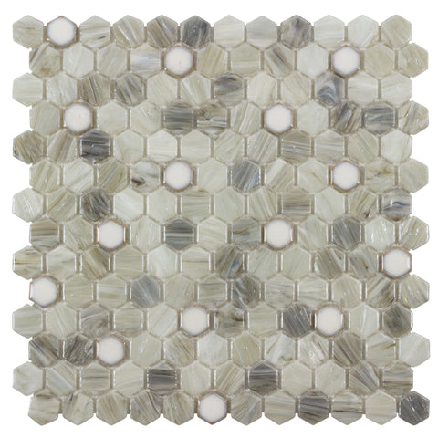 MTO0504 Modern 1X1 Hexagon Beige Gray White Glossy Hot Glass Mosaic Tile - Mosaic Tile Outlet